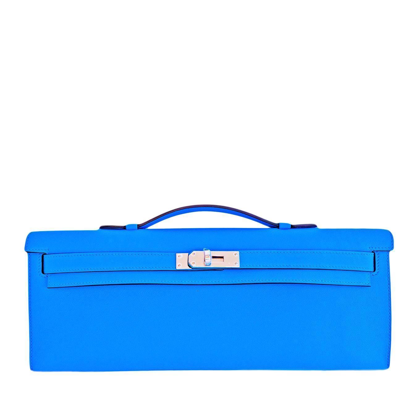 Hermes Blue Paradise Kelly Cut Pochette Clutch Swift Palladium Bag ...