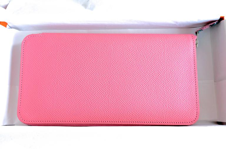 Hermes Rose Confetti Pink Silk-In Wallet Silk Interior Della Cavalleria Gift For Sale 1