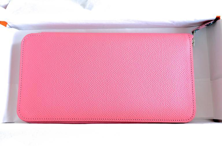 Hermes Rose Confetti Pink Silk-In Wallet Silk Interior Della Cavalleria Gift 5