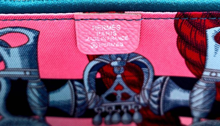 Hermes Rose Confetti Pink Silk-In Wallet Silk Interior Della Cavalleria Gift 4