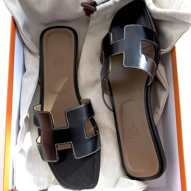1a8046db6384 Hermes Oran Black Box Leather Sandals White Stitching Size 40 or 3.9 or 10  In New