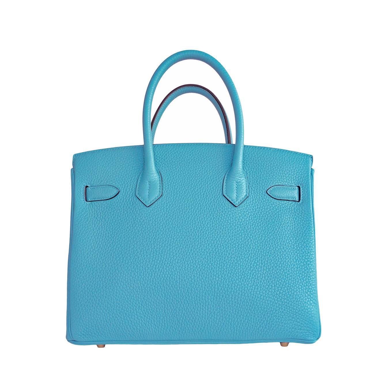 knock off birkin - Hermes Blue Saint Cyr Clemence Birkin 30cm Gold Hardware For Sale ...