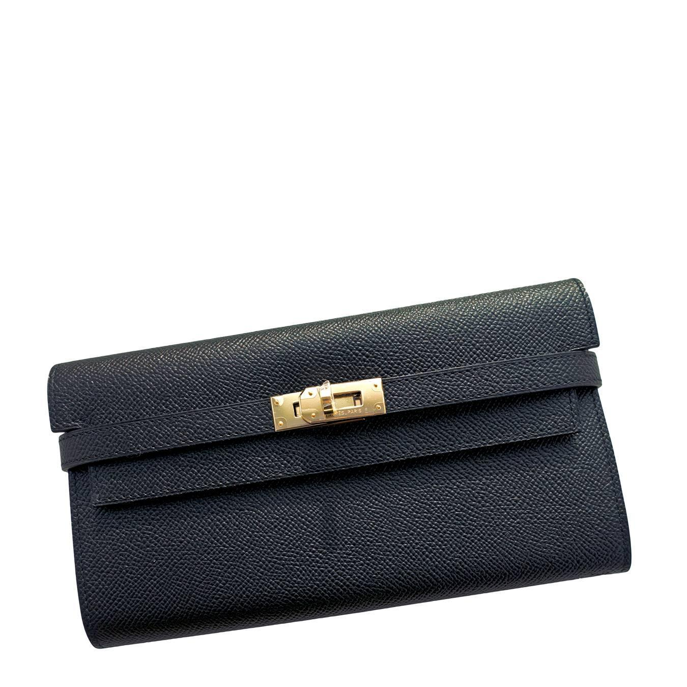 hermes kelly long wallet clutch black epsom palladium hardware