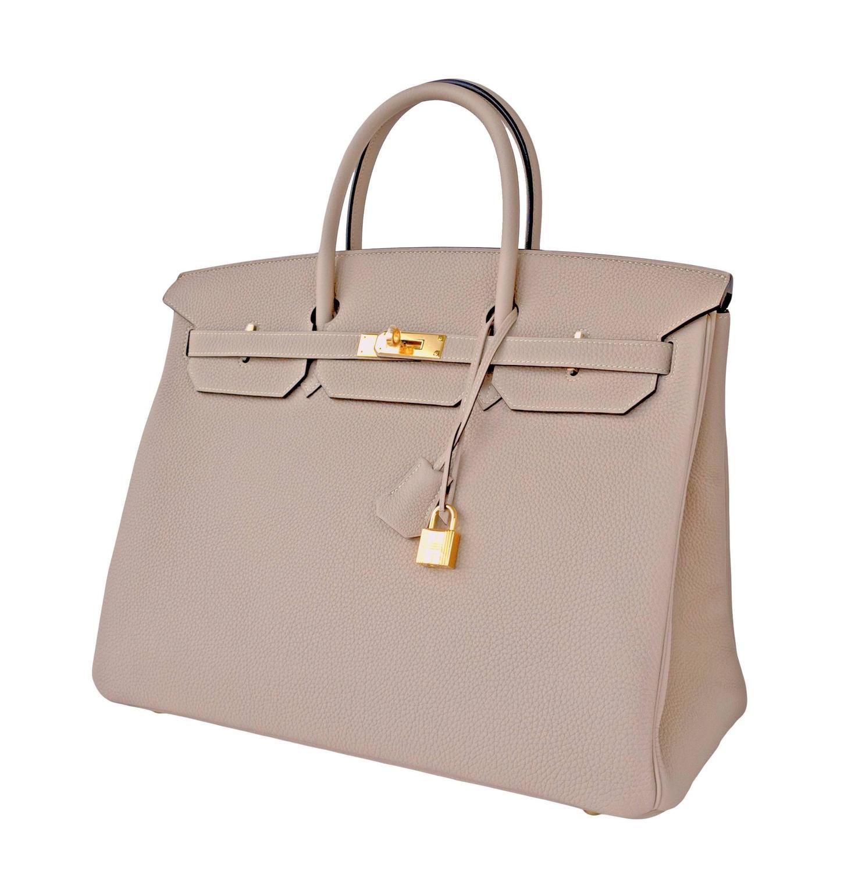 Hermes Gris Tourterelle 40cm Togo Birkin Gold GHW Tote Bag Superb ...