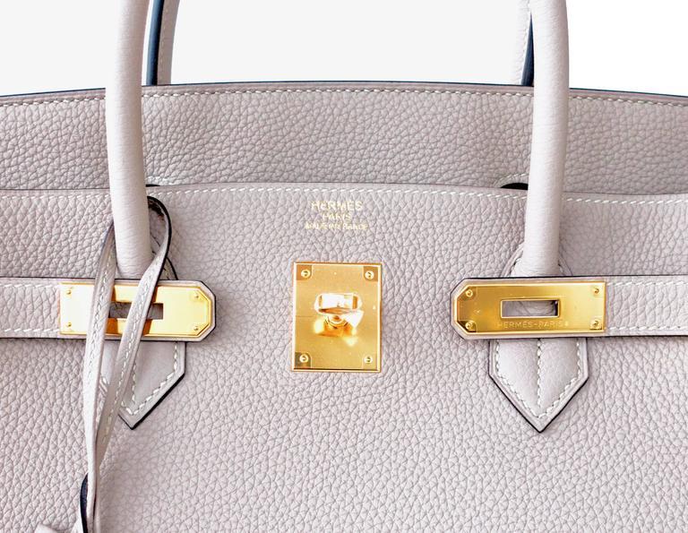 180ca56550a2 Hermes Gris Tourterelle 40cm Togo Birkin Gold GHW Tote Bag Superb For Sale 3