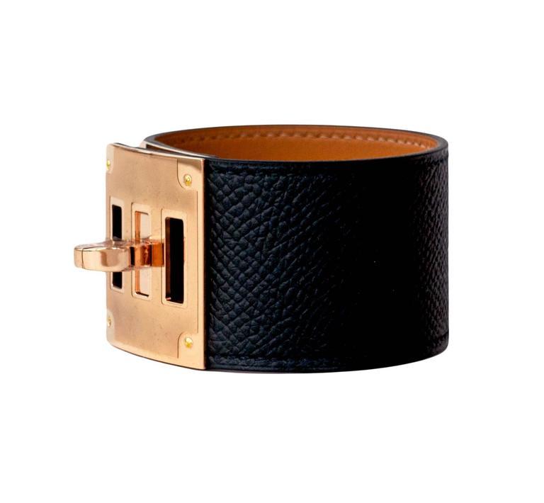 Hermes Black Kelly Dog Epsom Rose Gold Hardware Leather Cuff Bracelet Fresh Pristine Condition