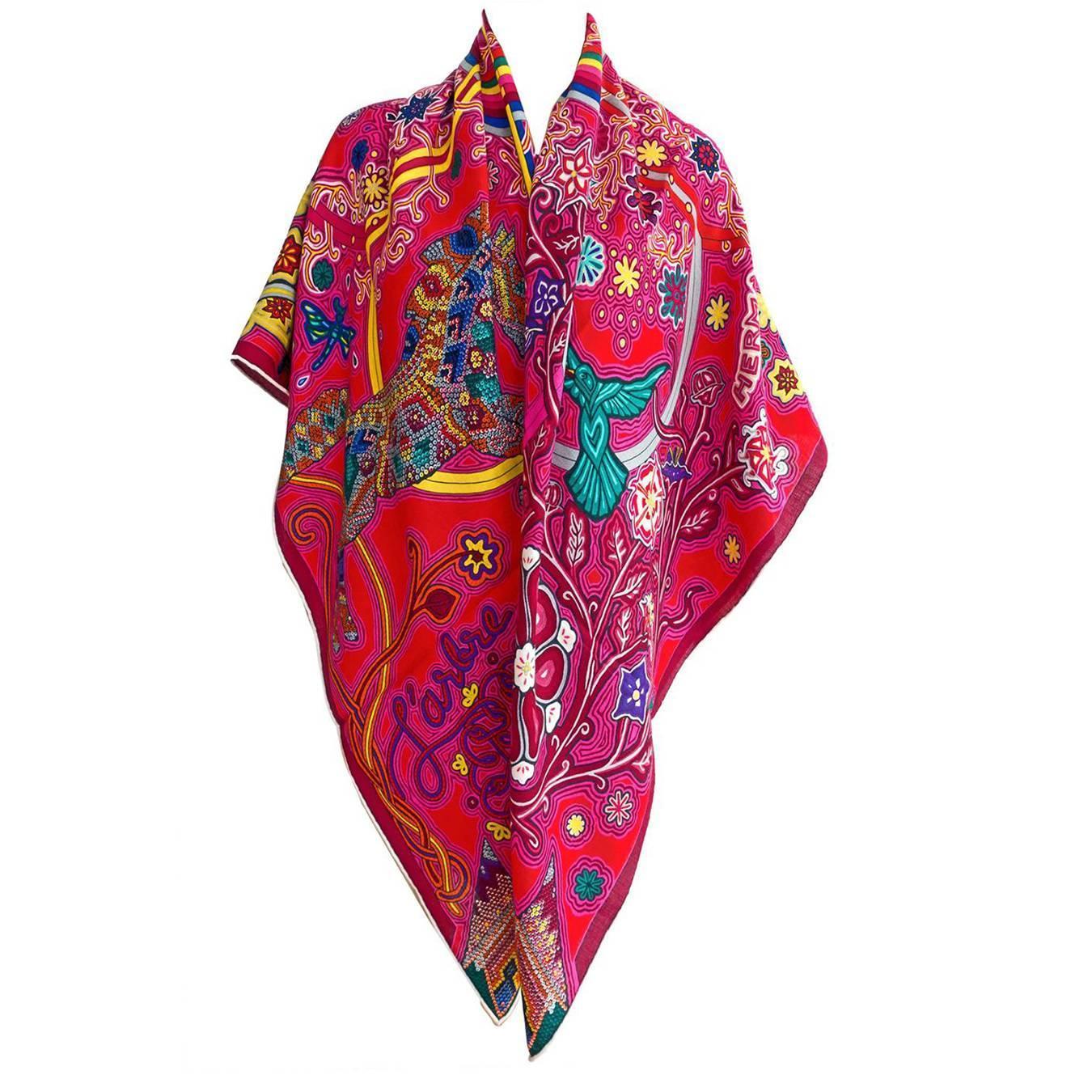 Hermes L Arbre Du Vent Cashmere Silk Shawl Scarf Gm 140cm