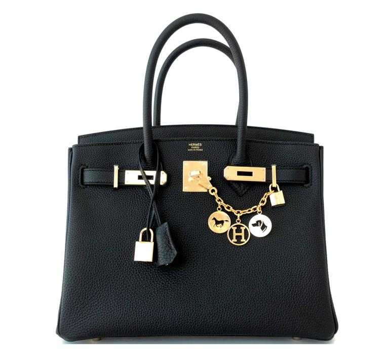 Hermes Black 30cm Birkin Togo Gold Hardware GHW Bag Tote Most Requested 8