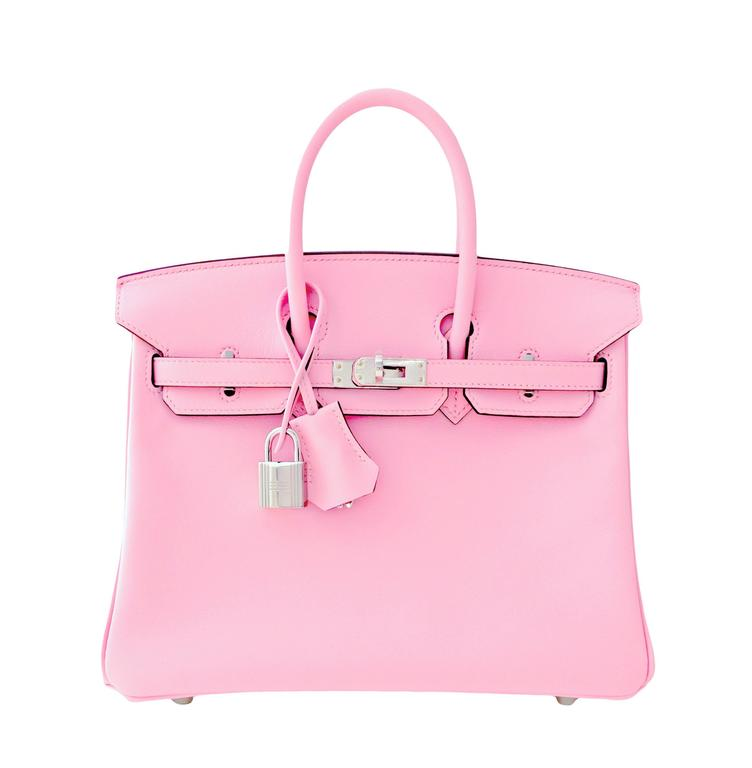Hermes Rose Sakura Pink 25cm Swift Leather Birkin Satchel Bag Jewel 8