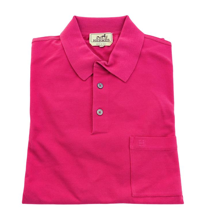 Hermes Rose Indian Men's Polo Short Sleeve Hot Pink Cotton Large ...