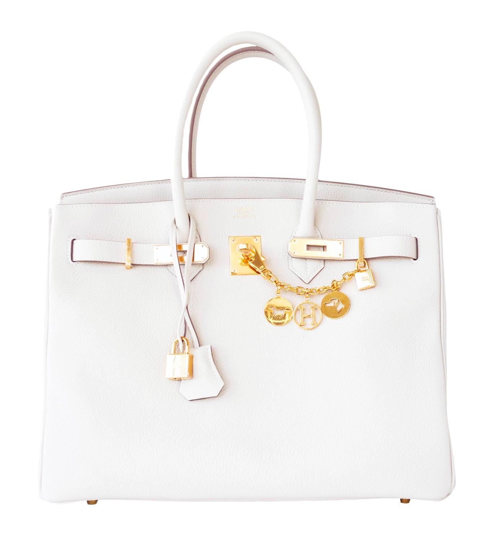 herme handbag - Hermes Craie Chalk 35cm Togo Birkin Gold GHW Tote Bag Summer Chic ...