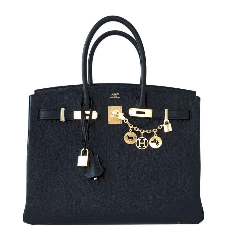 Hermes Black 35cm Birkin Gold Hardware Epsom Bag Power Birkin 10