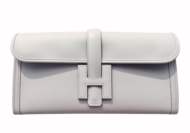 hermes birkin tan - Hermes Gris Perle Pearl Grey Jige Elan Clutch Bag 29cm Superb at ...