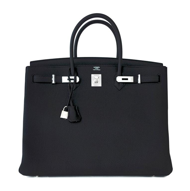 Hermes Black 40 Togo Palladium Hardware A Stamp Birkin Bag For Sale 5