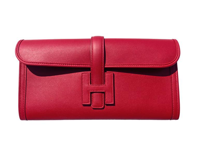 Hermes Rouge Grenat Jige Elan Clutch 29cm Red Garnet Jewel For Sale 1