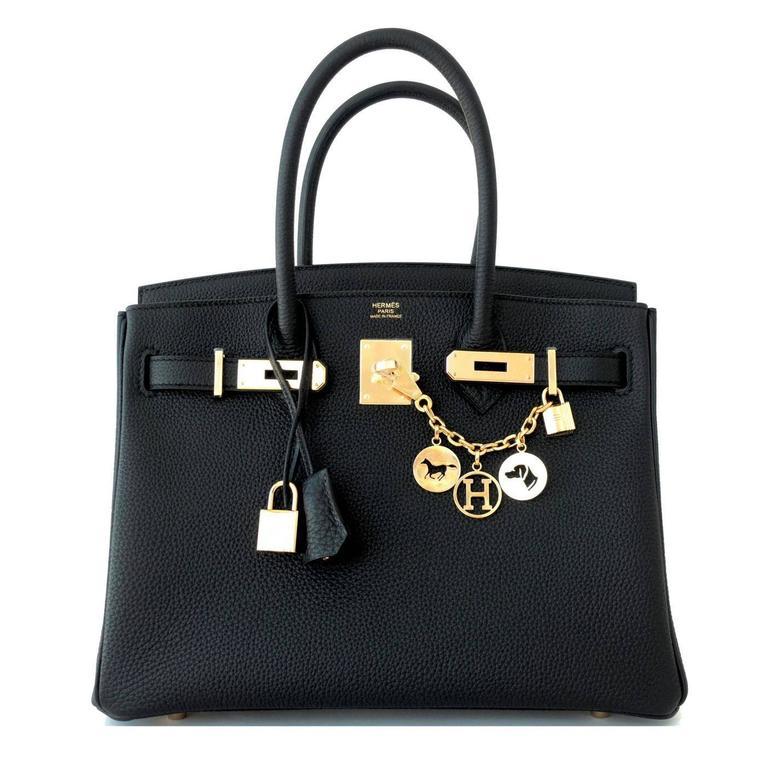 Hermes 30cm Black Togo Birkin Bag Gold Hardware GHW Chic 5