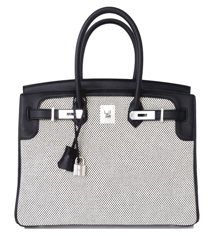 Hermes Black Swift Leather 35cm Birkin Ecru Graphite Criss Cross Toile VIP 10