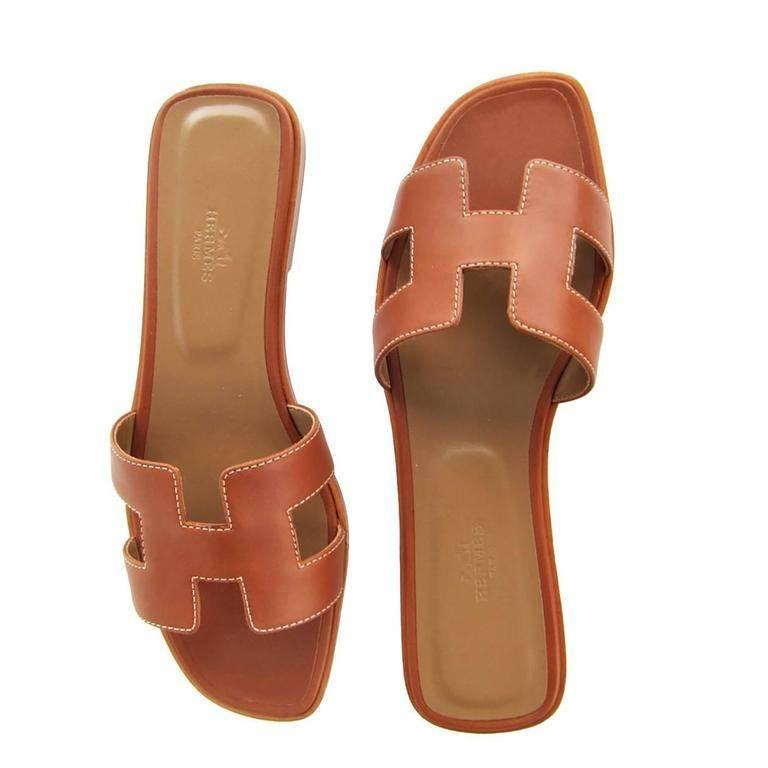44d993d5736 Hermes Gold Tan Oran Sandals 38.5 or 8 Orans Shoes Iconic Classic For Sale 1