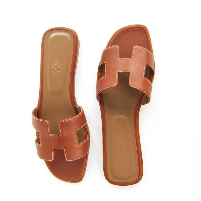 f4125a83b539 Hermes Gold Oran Sandals Shoes 38.5 or 8 Iconic Classic Brand New in Box.  Store