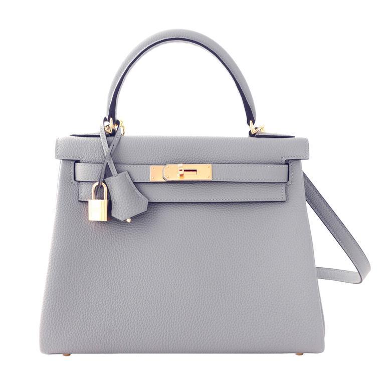Hermes Gris Mouette New Grey 28cm Togo Kelly Bag Gold Hardware Superb For  Sale d497258617b0