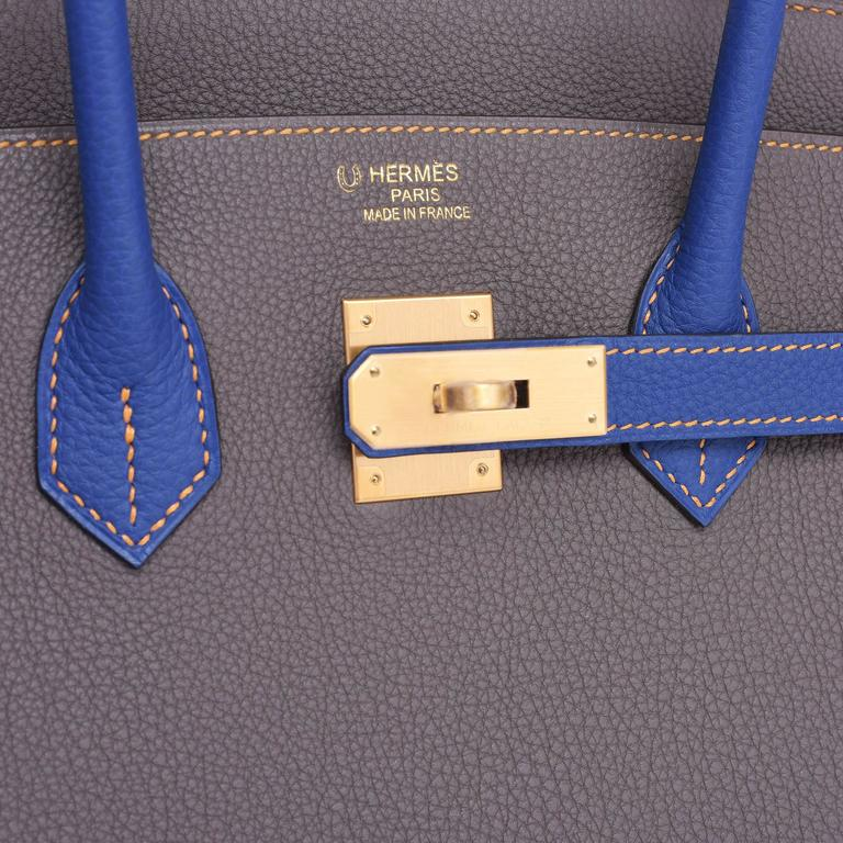 Gray Hermes Etain Blue Electric 35cm Togo Gold Special Order Horseshoe VIP Birkin Bag For Sale