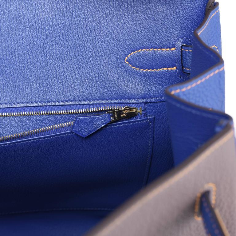 Hermes Etain Blue Electric 35cm Togo Gold Special Order Horseshoe VIP Birkin Bag 5