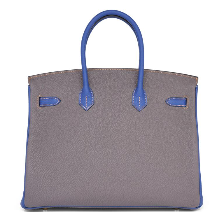 Women's or Men's Hermes Etain Blue Electric 35cm Togo Gold Special Order Horseshoe VIP Birkin Bag For Sale