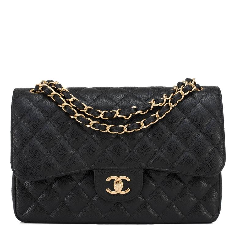 Chanel Black Quilted Caviar Jumbo Classic Double Flap Bag Gold Hardware 8