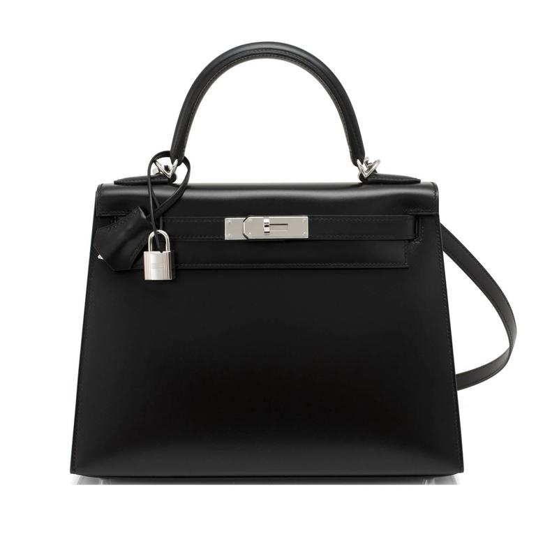 Hermes X Stamp Unicorn Black Box Kelly 28cm Sellier Palladium Hardware In New never worn Condition For Sale In New York, NY