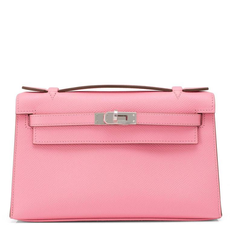 Hermes Rose Confetti Epsom Pink Pochette Cut Clutch Kelly Bag   For Sale 4