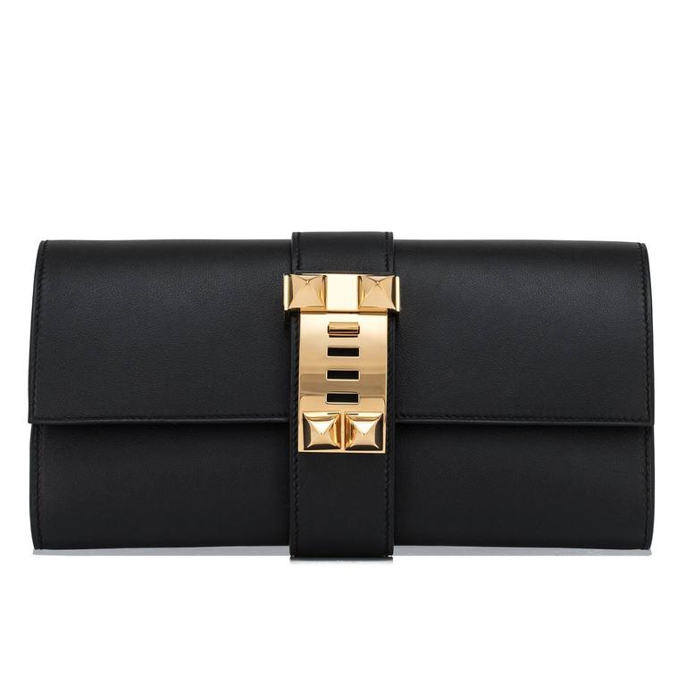 Hermes Black Medor Clutch Swift Leather Gold Hardware Elegant In New Never_worn Condition For Sale In New York, NY