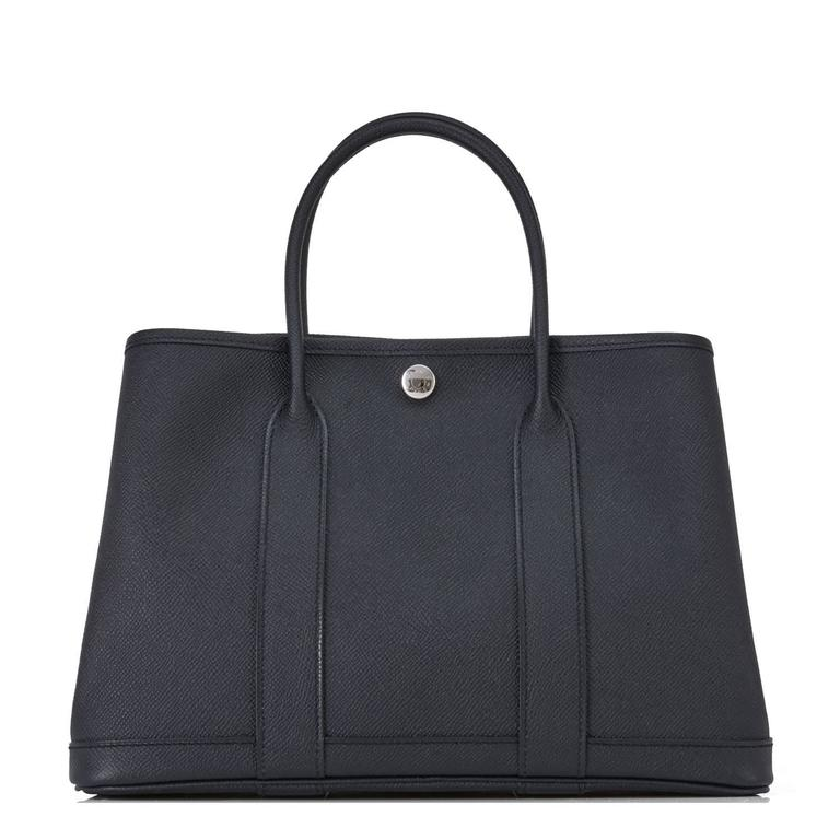 Hermes Black TPM Epsom Garden Party Tres Petite Modele 30cm Tote Bag For Sale 2