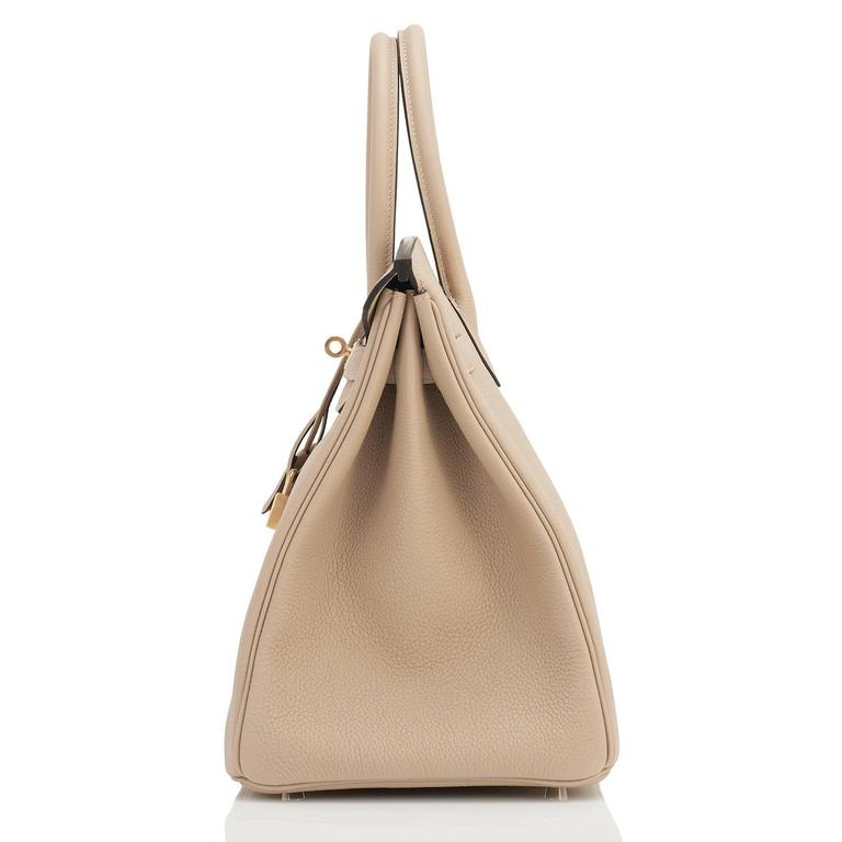 Hermes Trench 35cm Togo Beige Gold Hardware Birkin Bag For Sale 4