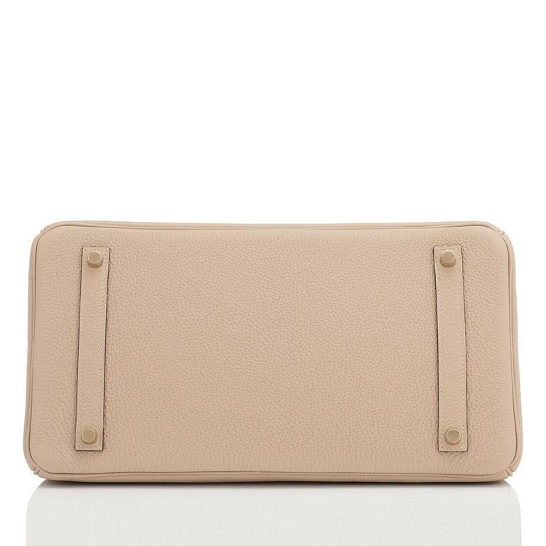 Hermes Trench 35cm Togo Beige Gold Hardware Birkin Bag For Sale 3