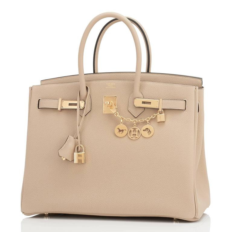 Hermes Trench 35cm Togo Beige Gold Hardware Birkin Bag In New Condition For Sale In New York, NY