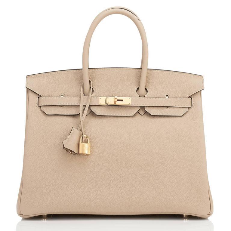 Women's or Men's Hermes Trench 35cm Togo Beige Gold Hardware Birkin Bag For Sale