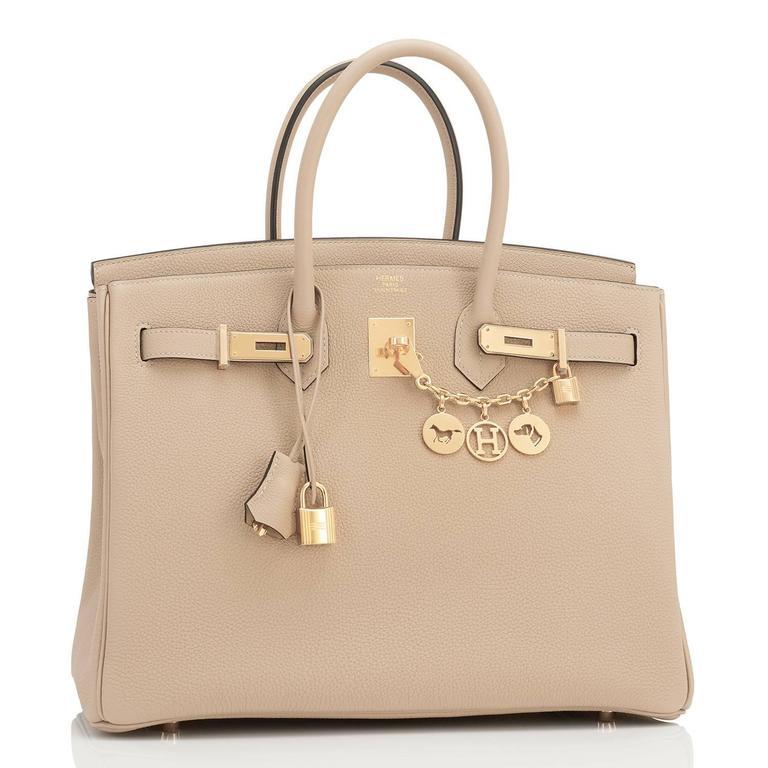 Hermes Trench 35cm Togo Beige Gold Hardware Birkin Bag For Sale 1
