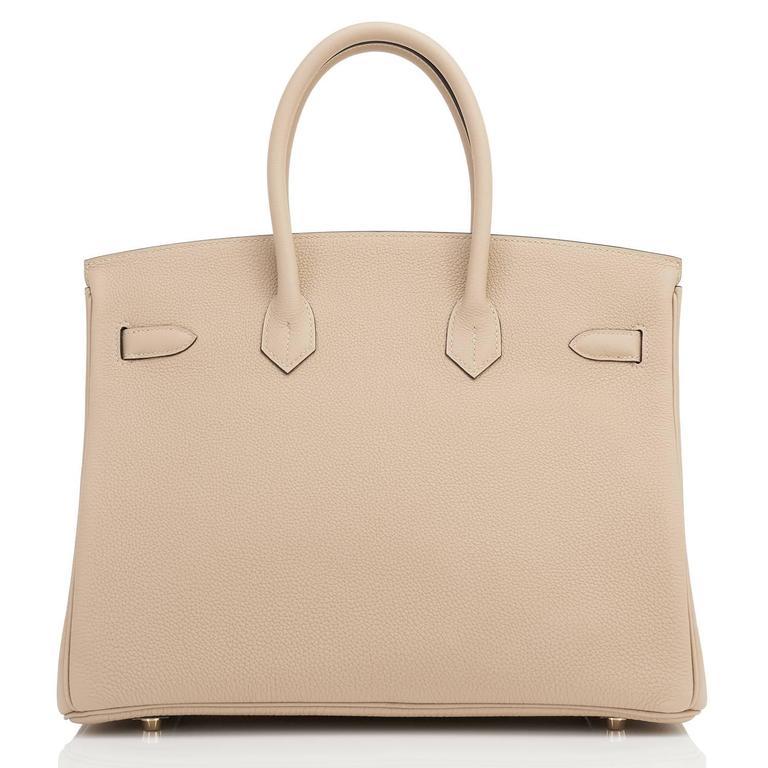 Hermes Trench 35cm Togo Beige Gold Hardware Birkin Bag For Sale 2