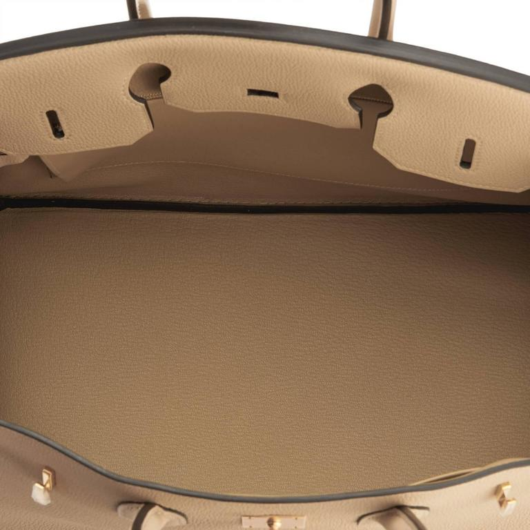 Hermes Trench 35cm Togo Beige Gold Hardware Birkin Bag For Sale 5