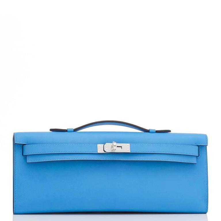 Women's or Men's Hermes Blue Paradise Kelly Cut Swift Palladium Pochette Clutch Bag  For Sale
