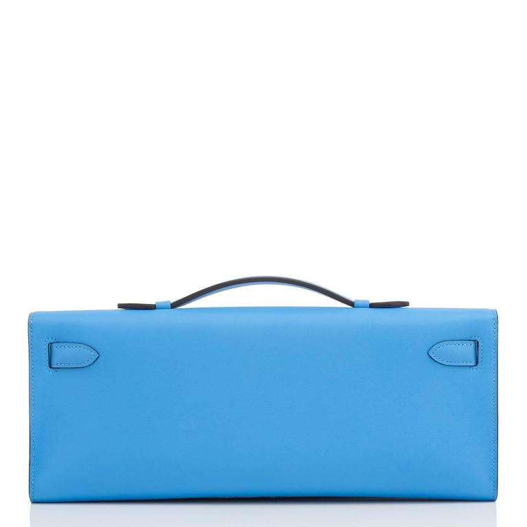 Hermes Blue Paradise Kelly Cut Swift Palladium Pochette Clutch Bag  In New Condition For Sale In New York, NY