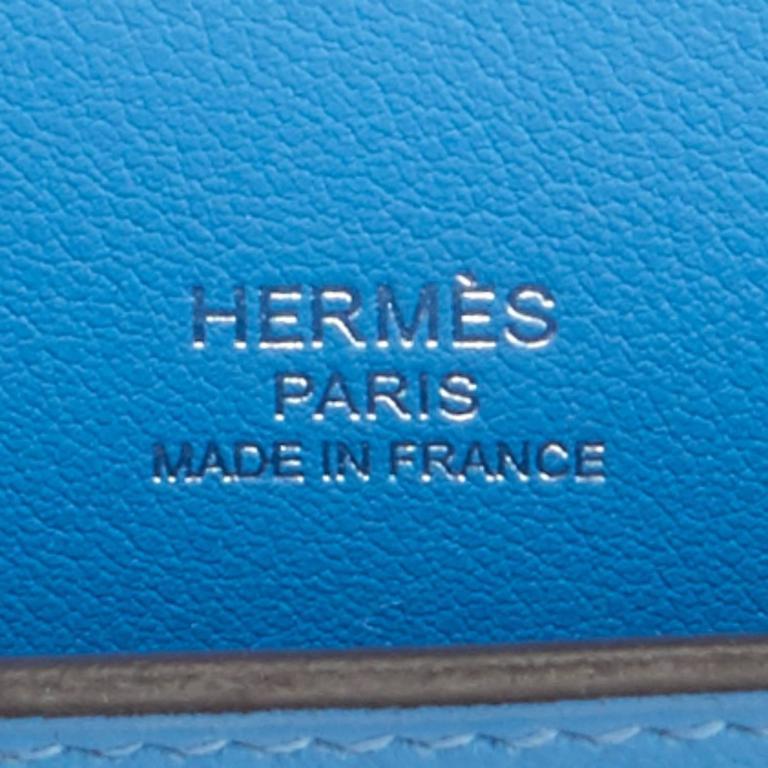 Hermes Blue Paradise Kelly Cut Swift Palladium Pochette Clutch Bag  For Sale 3