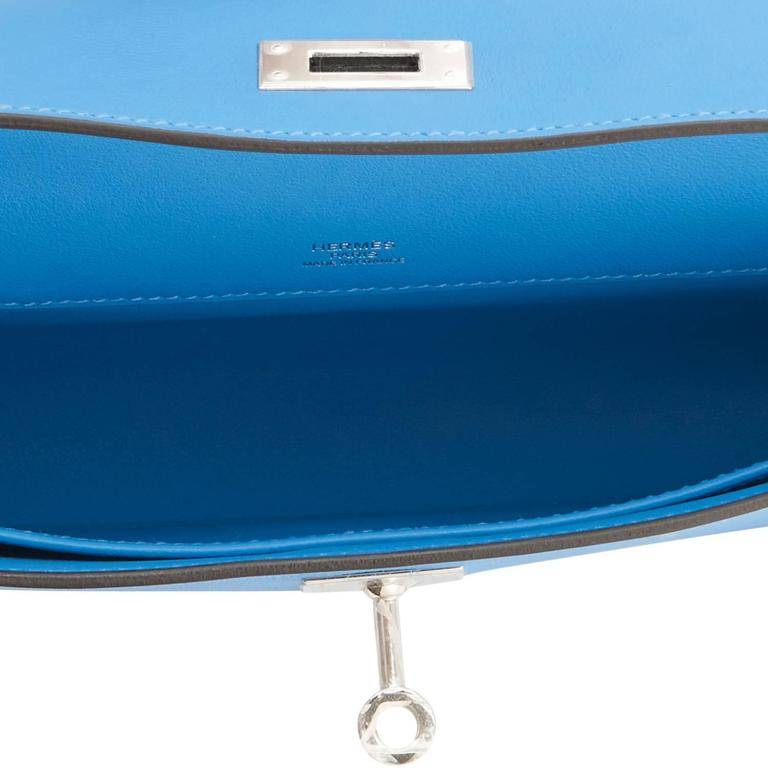Hermes Blue Paradise Kelly Cut Swift Palladium Pochette Clutch Bag  For Sale 2