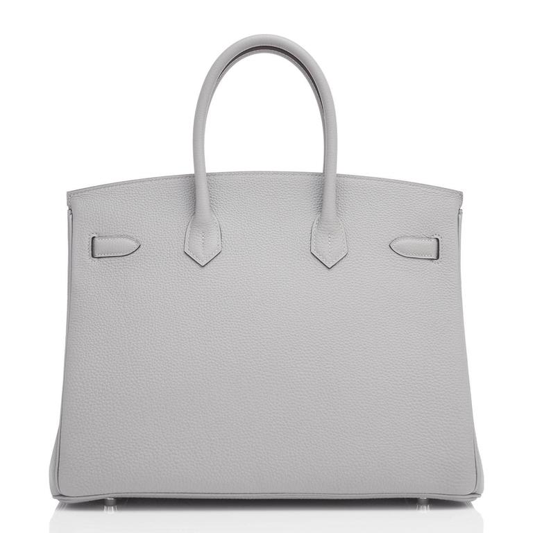 "Hermes Gris Mouette ""Verso"" 35cm Togo Birkin Blue Agate Limited Edition  5"