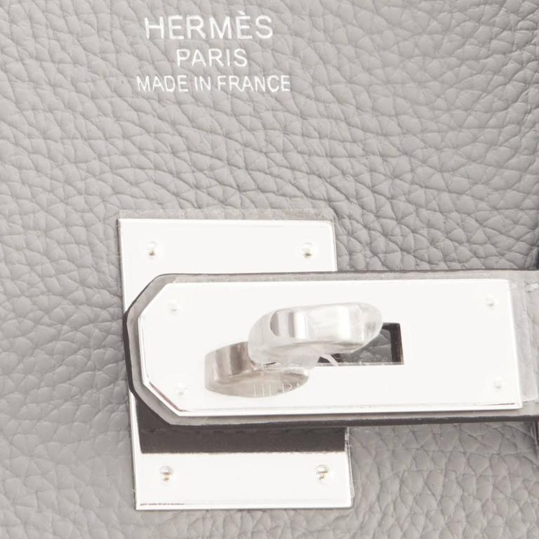 "Hermes Gris Mouette ""Verso"" 35cm Togo Birkin Blue Agate Limited Edition  10"