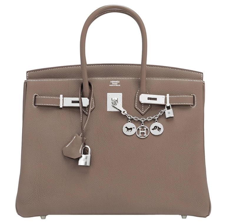 Hermes Etoupe Togo 35cm Birkin Palladium Hardware Tote Bag  For Sale