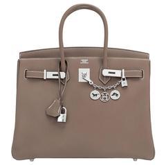 Hermes Etoupe Togo 35cm Birkin Palladium Hardware Tote Bag