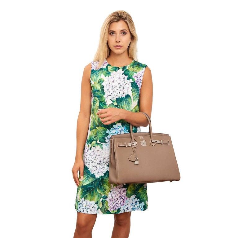 Brown Hermes Etoupe Togo 35cm Birkin Palladium Hardware Tote Bag  For Sale