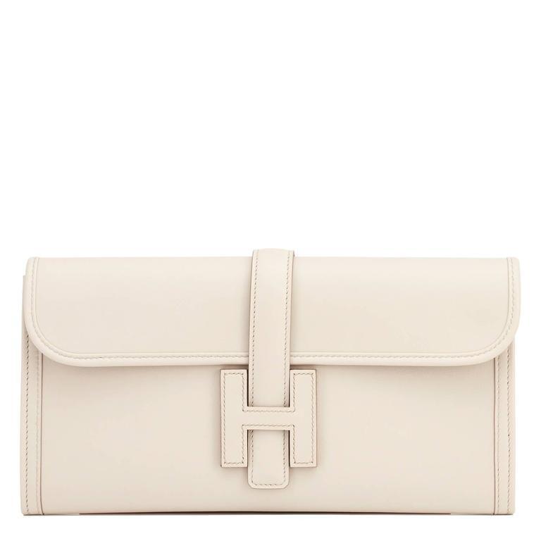 Hermes Beton Jige Elan 29cm Swift Off White Clutch Bag  For Sale 5