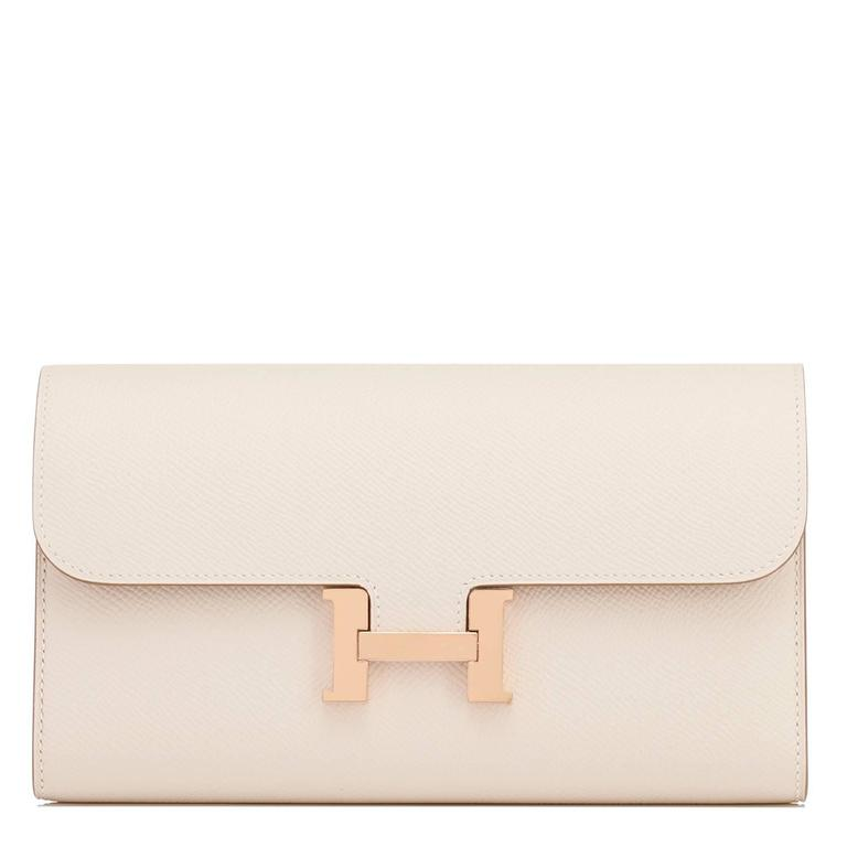 Hermes Craie Off White Constance Wallet Clutch Rose Gold Hardware 9